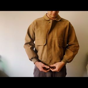 Vintage Italian leather beige jacket size L